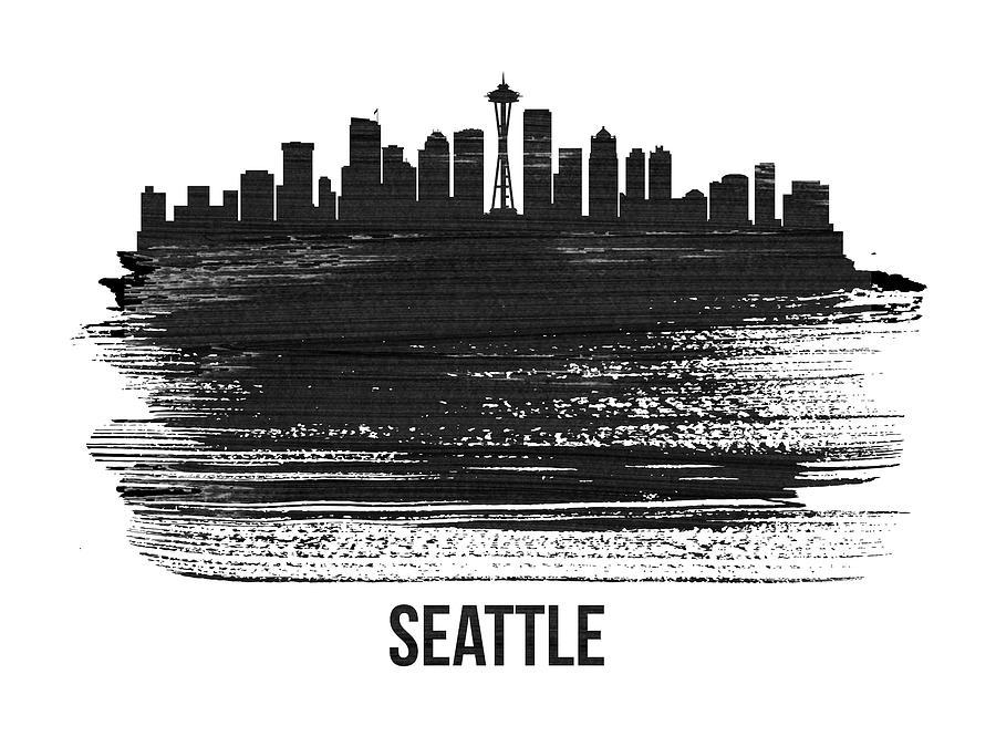 Seattle Mixed Media - Seattle Skyline Brush Stroke White by Naxart Studio