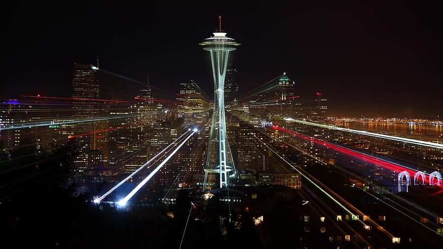 Seattle Skyline Laser Show Photograph by Jonkman Photography