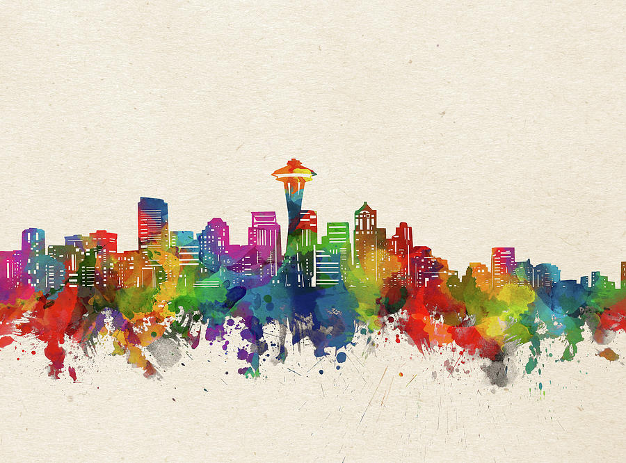 Seattle Digital Art - Seattle Skyline Watercolor by Bekim M