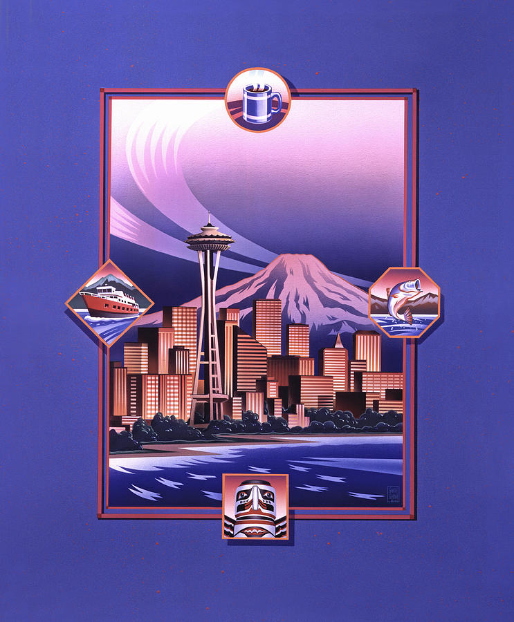 Seattle Painting - Seattle Sunset by Garth Glazier