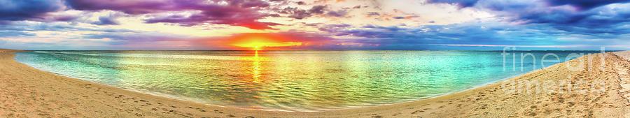 Seaview At Sunset. Amazing Landscape. Beautiful Beach Panorama Photograph