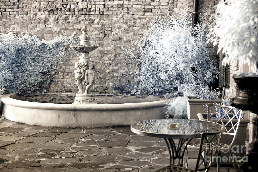 Fountain Photograph - Secret Courtyard New Orleans Infrared by John Rizzuto