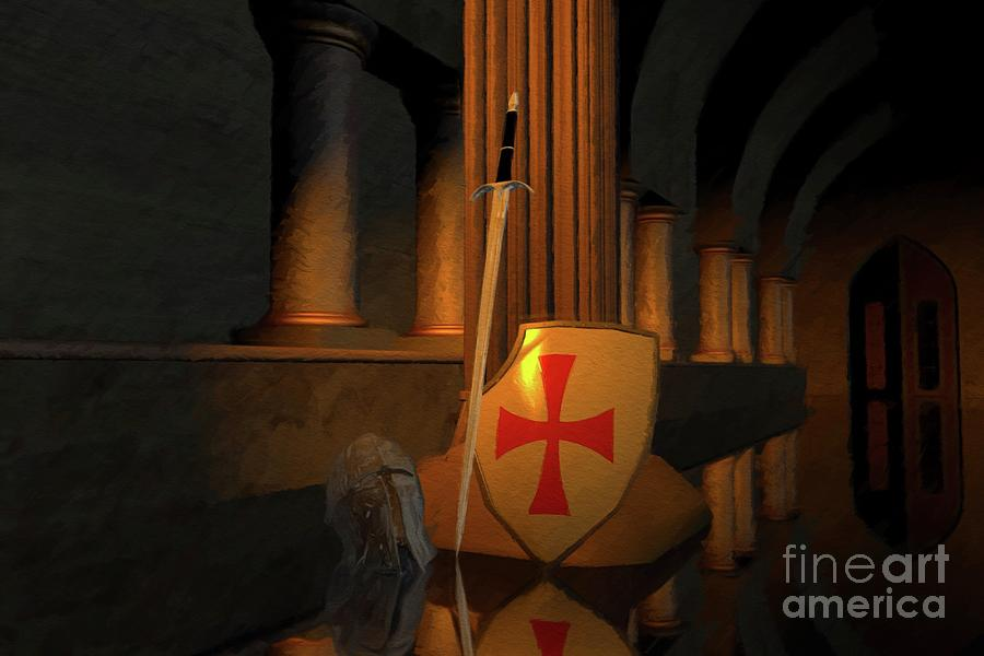 Knight Painting - Secret Of The Knights Templar by Sarah Kirk