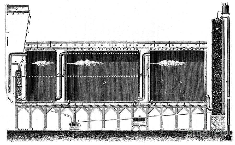 Sectional View Of Lead Chambers Drawing by Print Collector