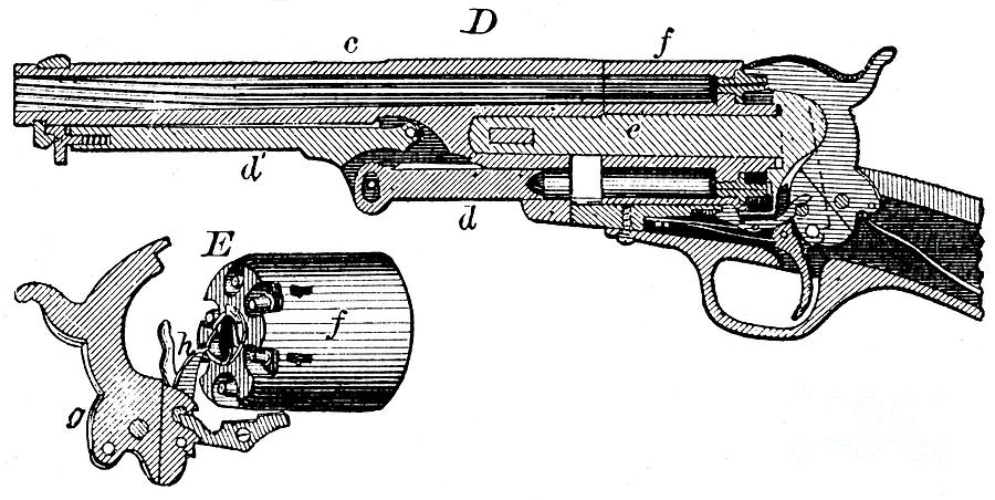 Sectional View Of The Colt Revolver Drawing by Print Collector