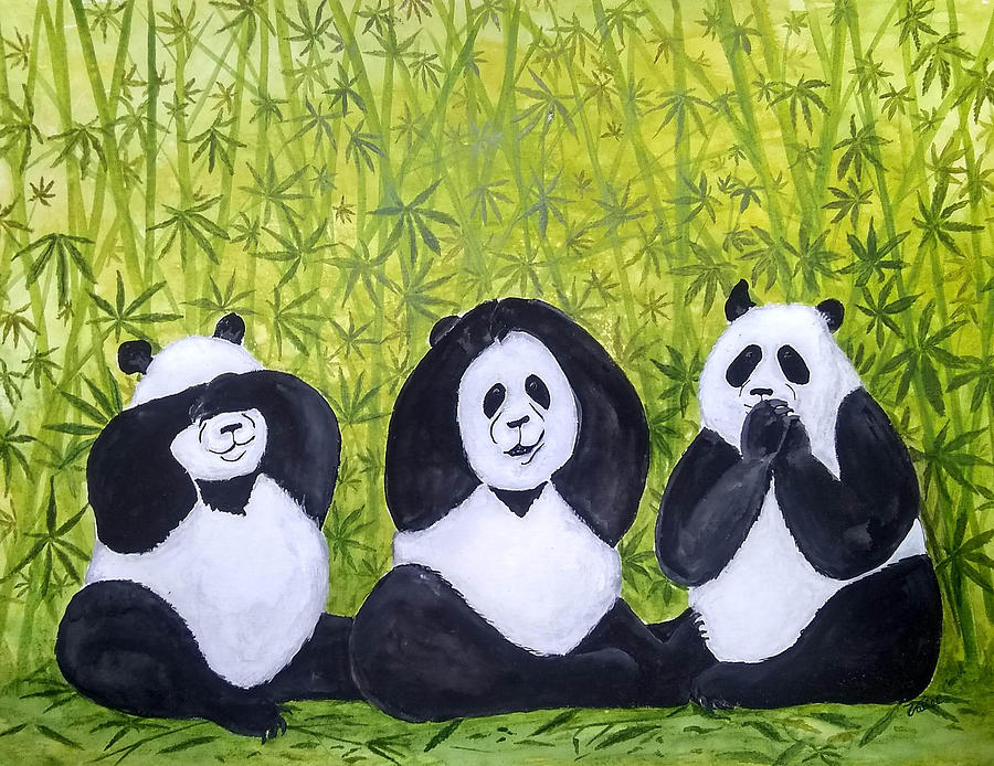 Pandas Painting - See No Evil.. by Vallee Johnson