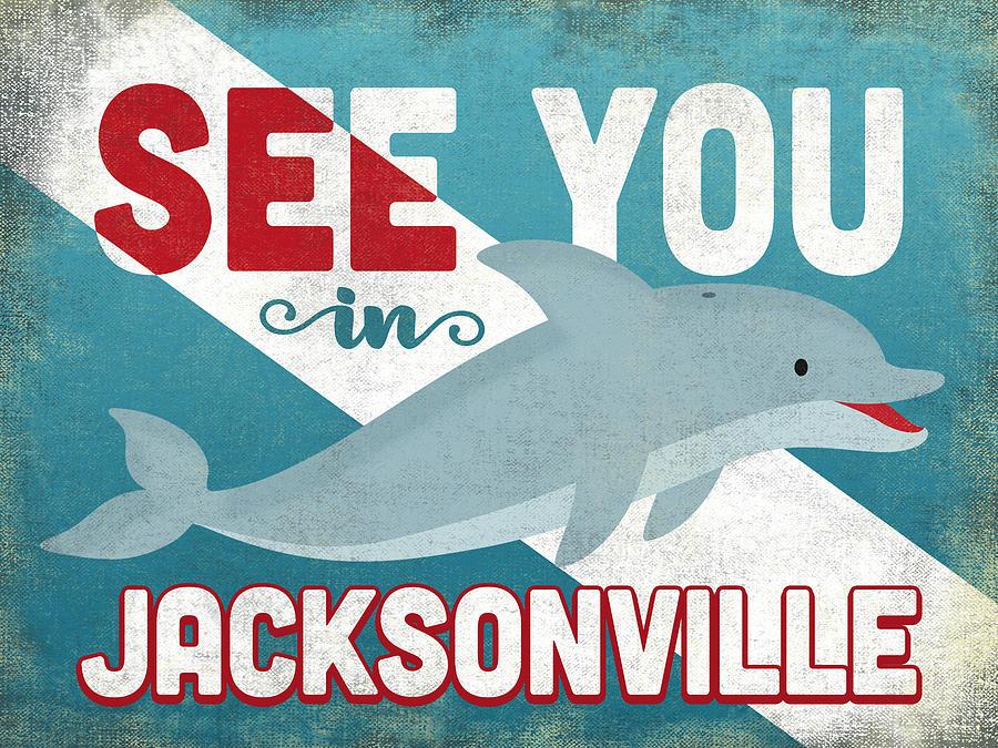 Jacksonville Digital Art - See You In Jacksonville Dolphin by Flo Karp