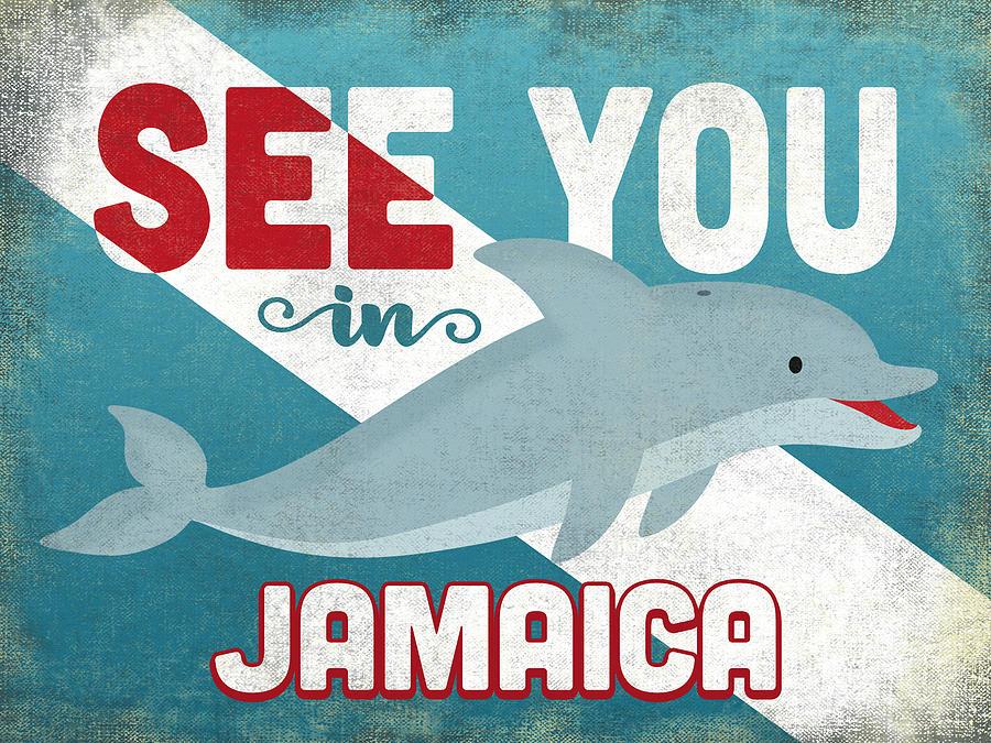 Jamaica Digital Art - See You In Jamaica Dolphin by Flo Karp