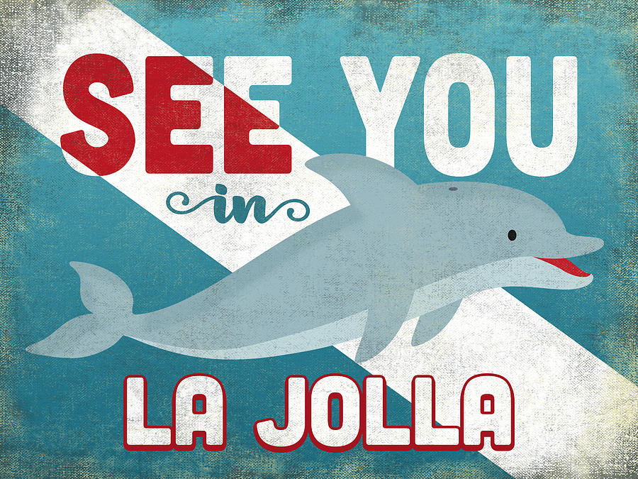 La Jolla Digital Art - See You In La Jolla Dolphin by Flo Karp