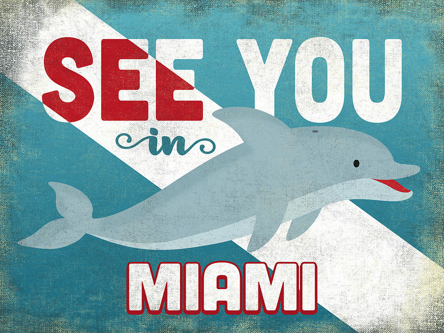Miami Digital Art - See You In Miami Dolphin by Flo Karp