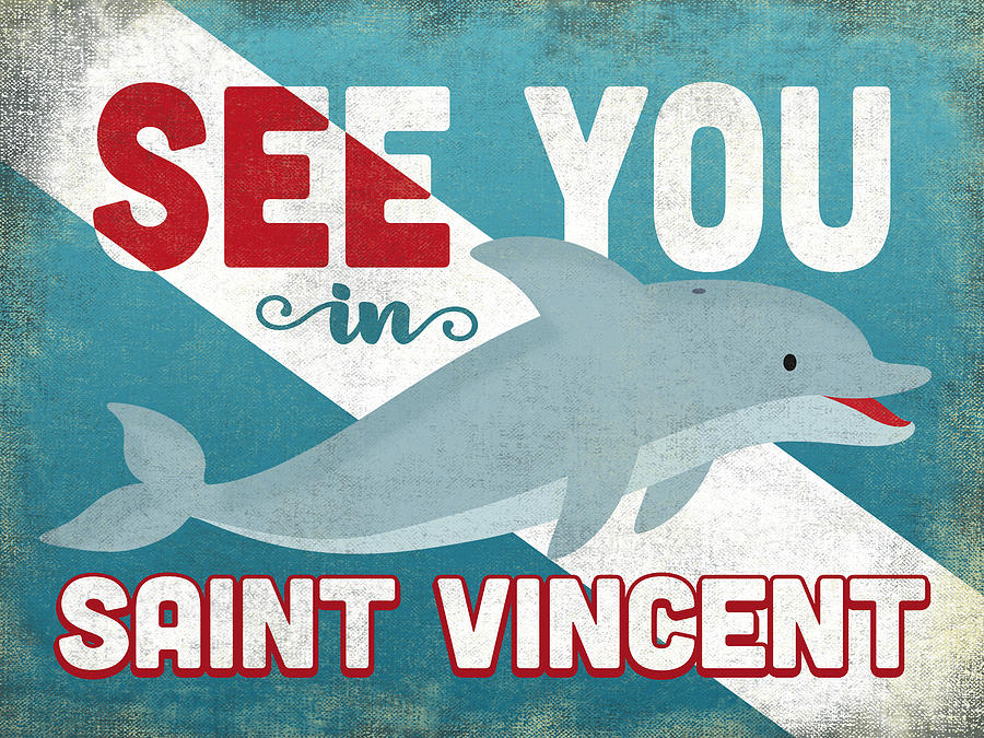 Saint Vincent Digital Art - See You In Saint Vincent Dolphin by Flo Karp