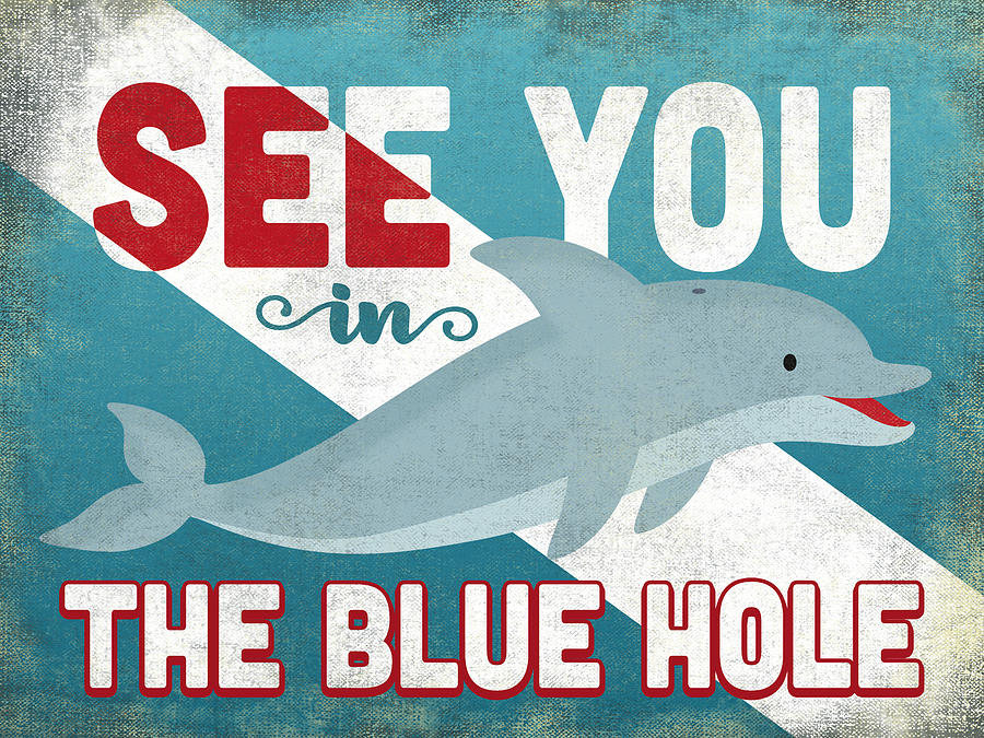 The Blue Hole Digital Art - See You In The Blue Hole Dolphin by Flo Karp