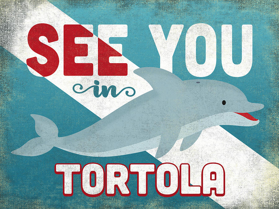 Tortola Digital Art - See You In Tortola Dolphin by Flo Karp