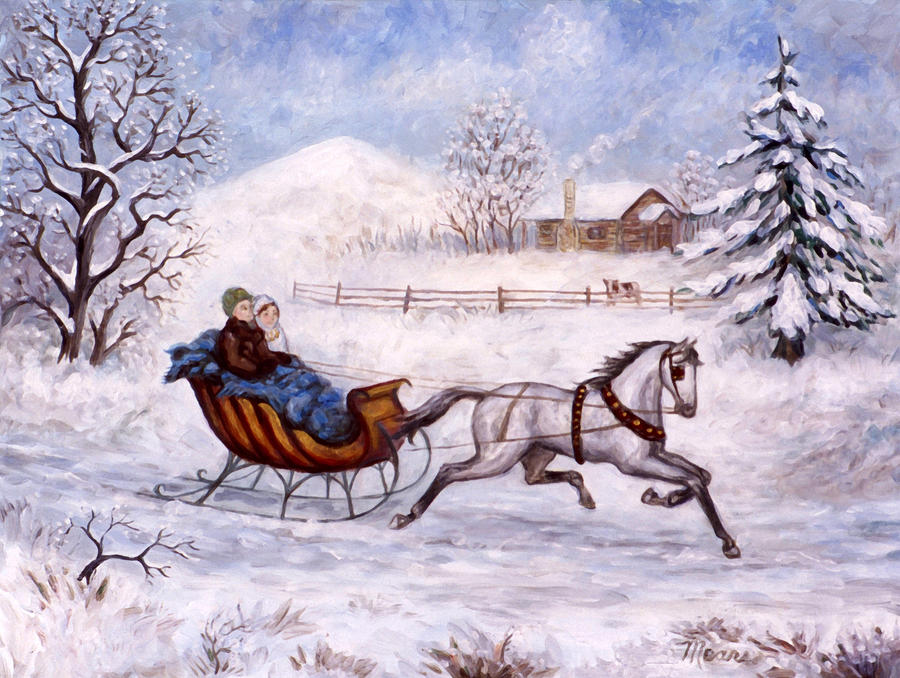 Sleigh Ride Painting - Seidler Sleigh Ride by Linda Mears
