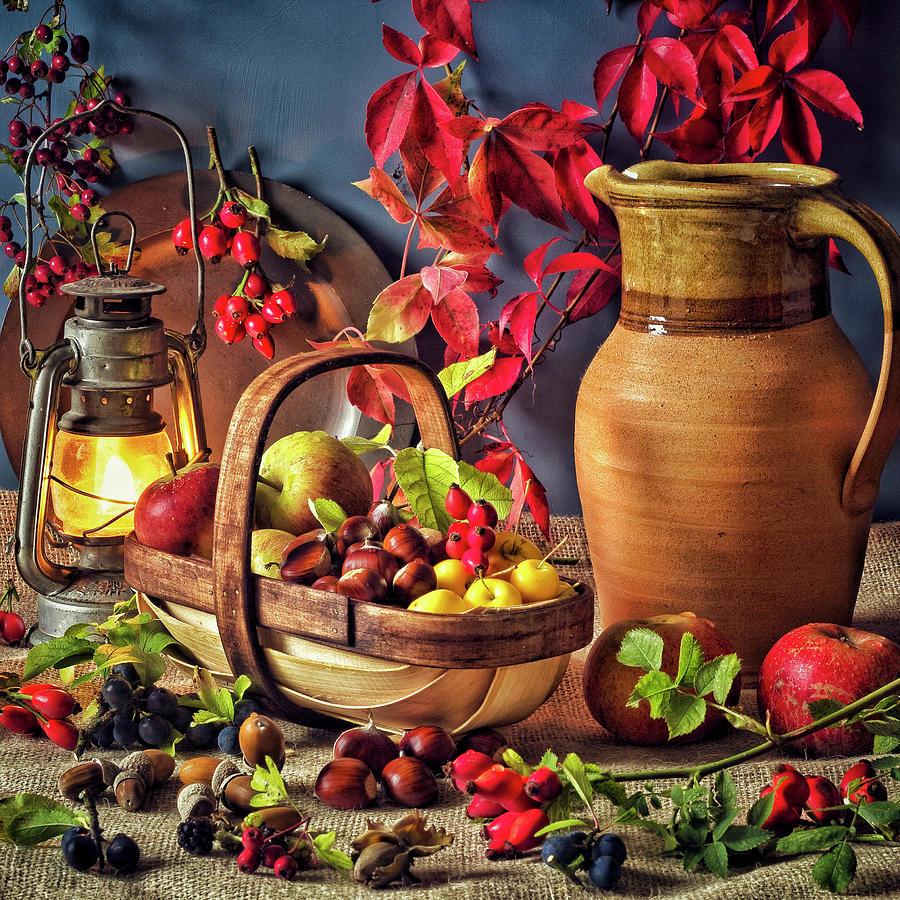 Selection Of Uk Autumn Edible Fruits Photograph by Memoryweaver Photography