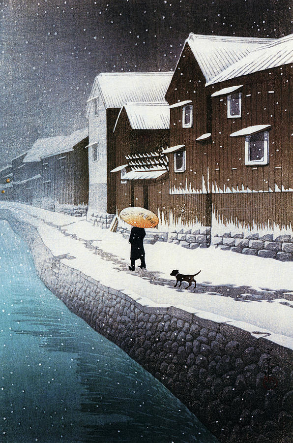 Ukiyoe Painting - Selection of views of the Tokaido, Snow at Handa, near Nagoya - Digital Remastered Edition by Kawase Hasui