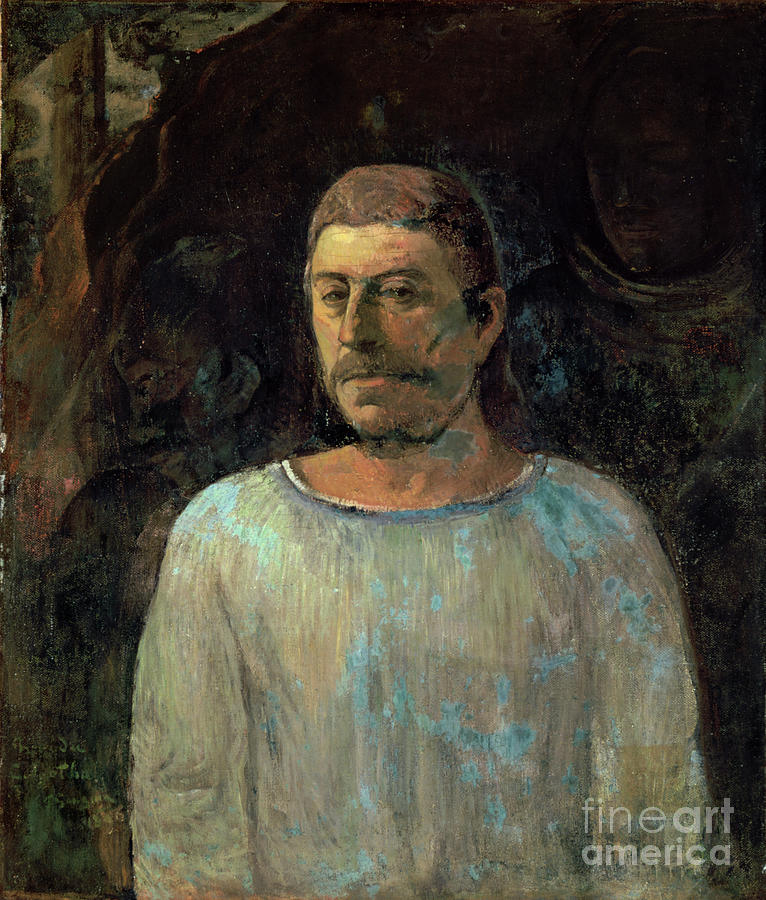 Self-portrait, 1896. Artist Paul Gauguin Drawing by Print Collector