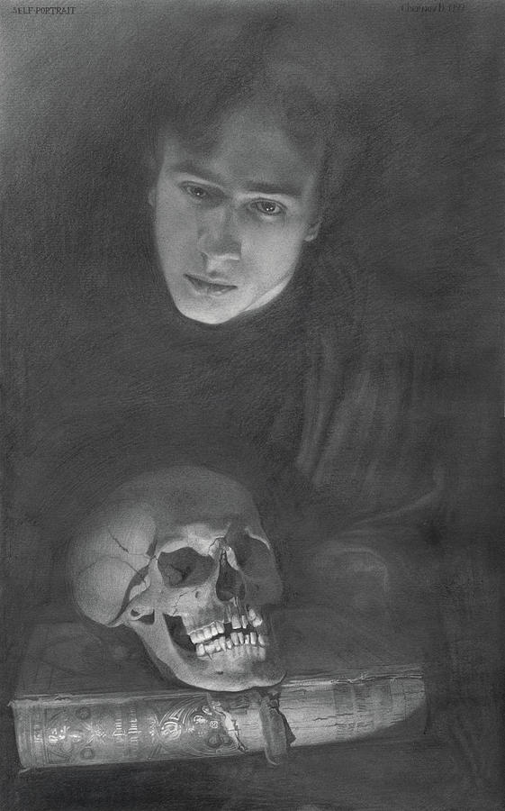 Graphite Drawing - Self-portrait With A Scull by Denis Chernov