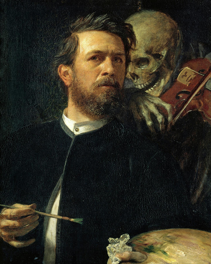 Arnold Bocklin Painting - Self-Portrait with Death Playing the Fiddle, 1872 by Arnold Bocklin
