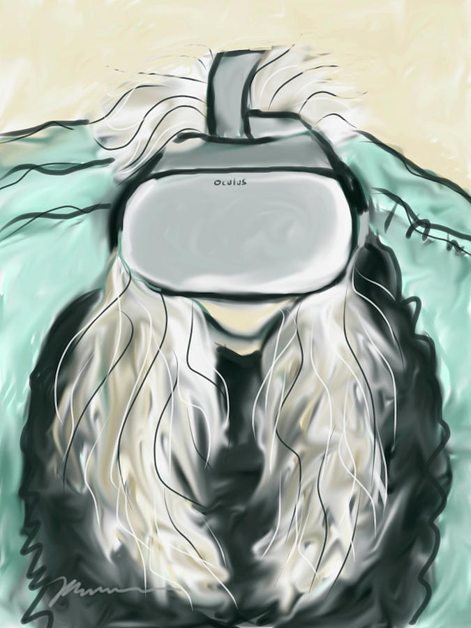 Self Portrait With VR Headset  by Jean Pacheco Ravinski