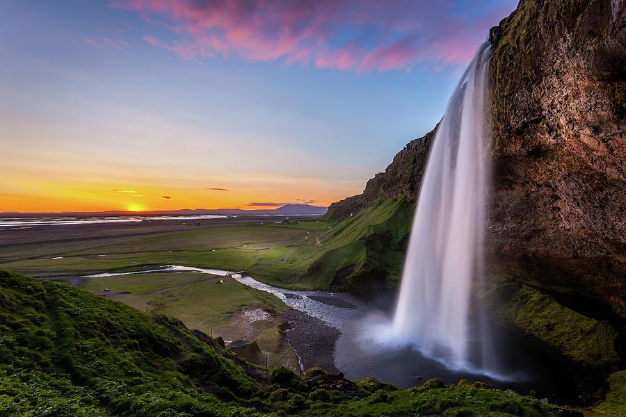 Iceland Photograph - Seljalandsfoss at Sunset by Peter OReilly