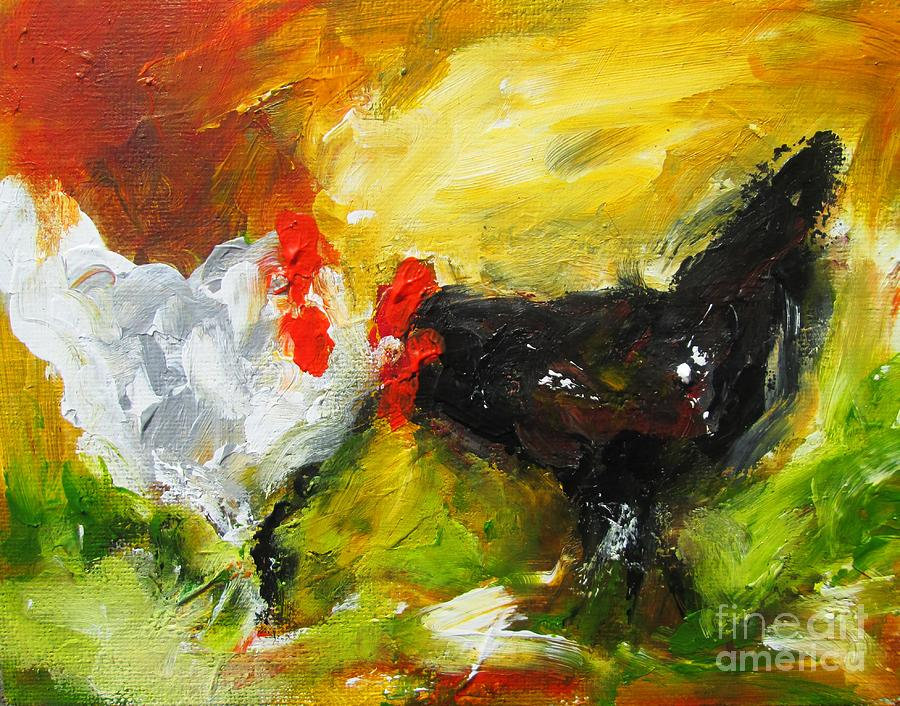 semi abstract painting of two hens  by Mary Cahalan Lee- aka PIXI