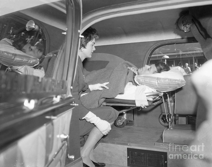 Senator John Kennedy In Ambulance Photograph by Bettmann