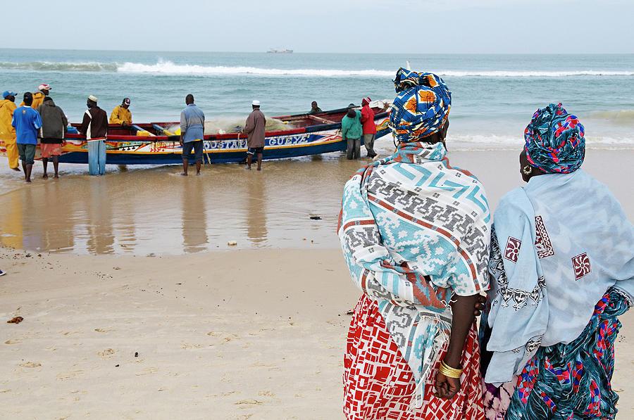 Senegal, Saint Louis, People On Beach Photograph by Tuul & Bruno Morandi