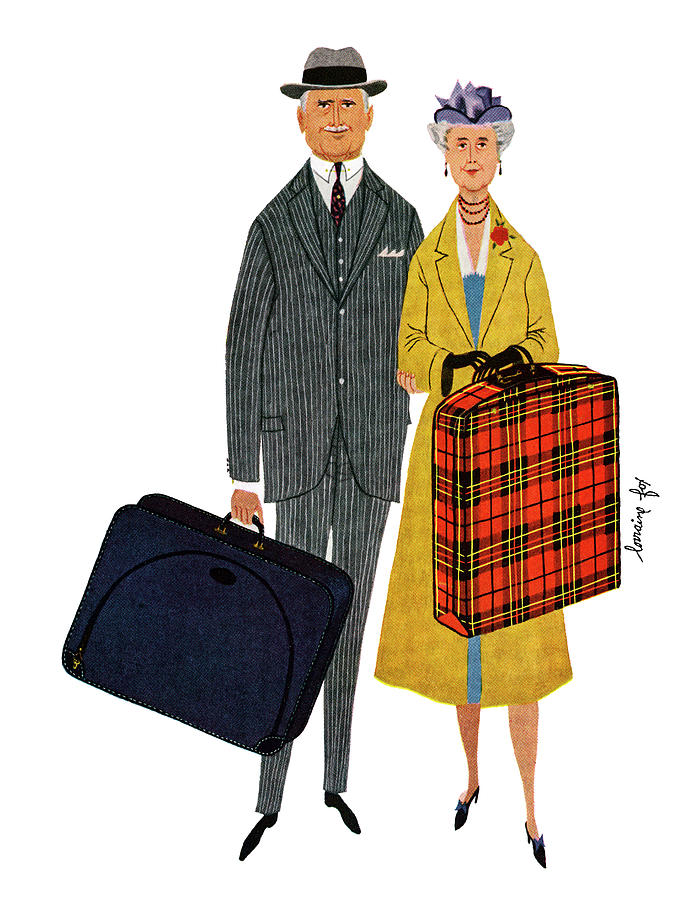 Senior Couple With Suitcases Photograph by Graphicaartis