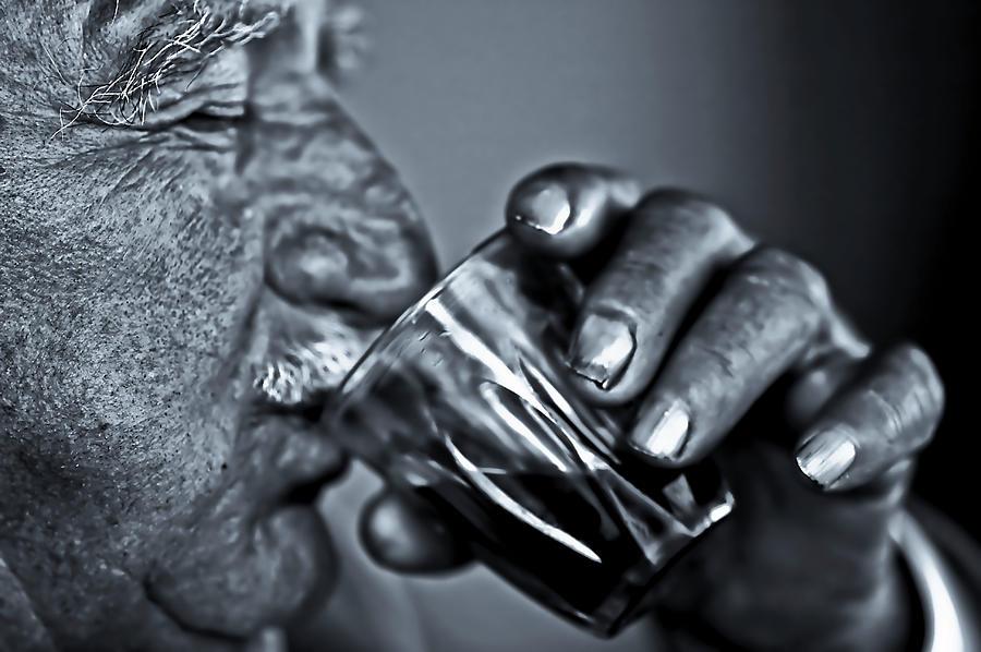 Senior Man Drinking Wine Photograph by Nasos Zovoilis