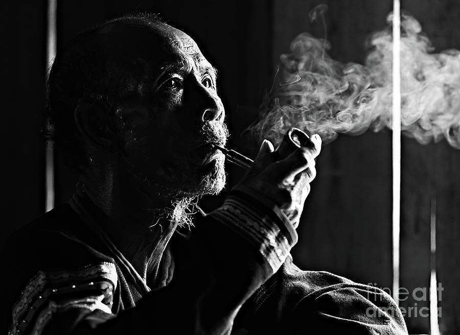 Senior Man Smoking Pipe, Vietnam Photograph by Tran Anh Linh