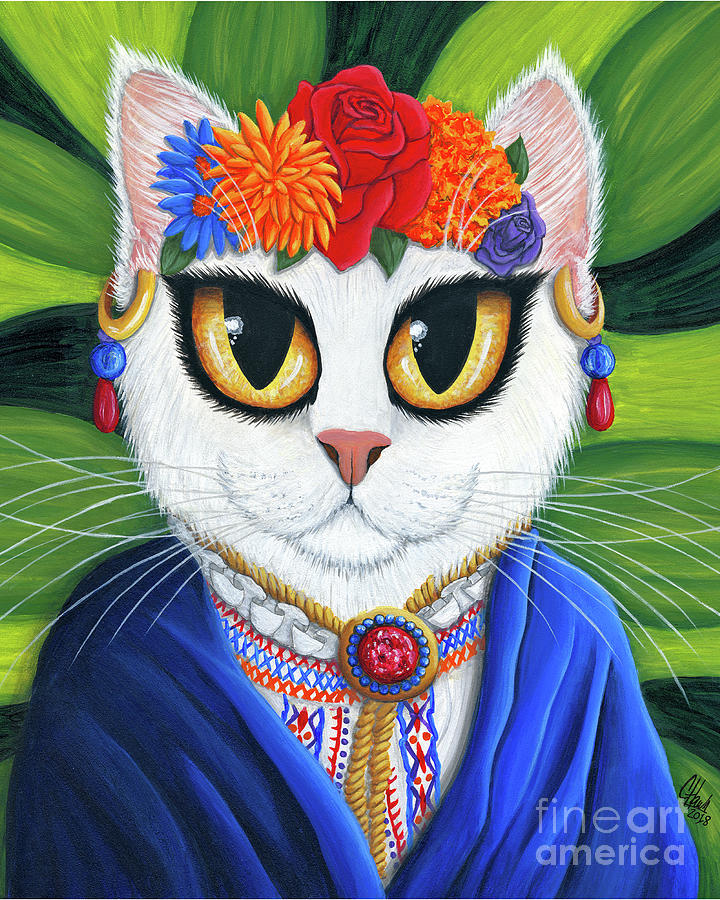 Senorita Cat - White Cat - Spanish Mexican by Carrie Hawks