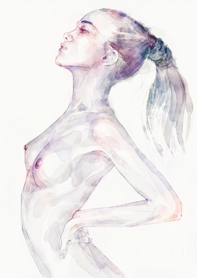 Sensual pose aquarelle portrait of a girl by Dimitar Hristov