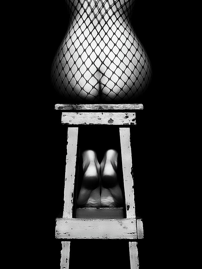 Woman Photograph - Sensual Woman Sitting Rear View by Johan Swanepoel