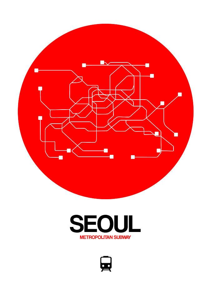 Vacation Digital Art - Seoul Red Subway Map by Naxart Studio
