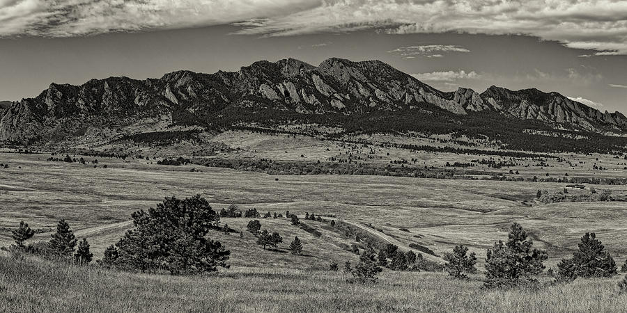 Colorado Photograph - Sepia Panorama Of Flatirons Mountain Range In Boulder - Rocky Mountains Colorado  by Silvio Ligutti