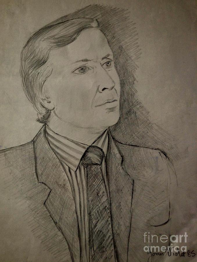 Sepia Pencil Portrait by Joan-Violet Stretch
