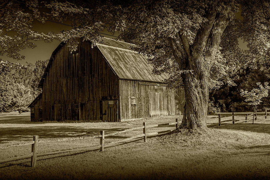 Sepia Tone of a Wooden Weathered Barn in West Michigan by Randall Nyhof