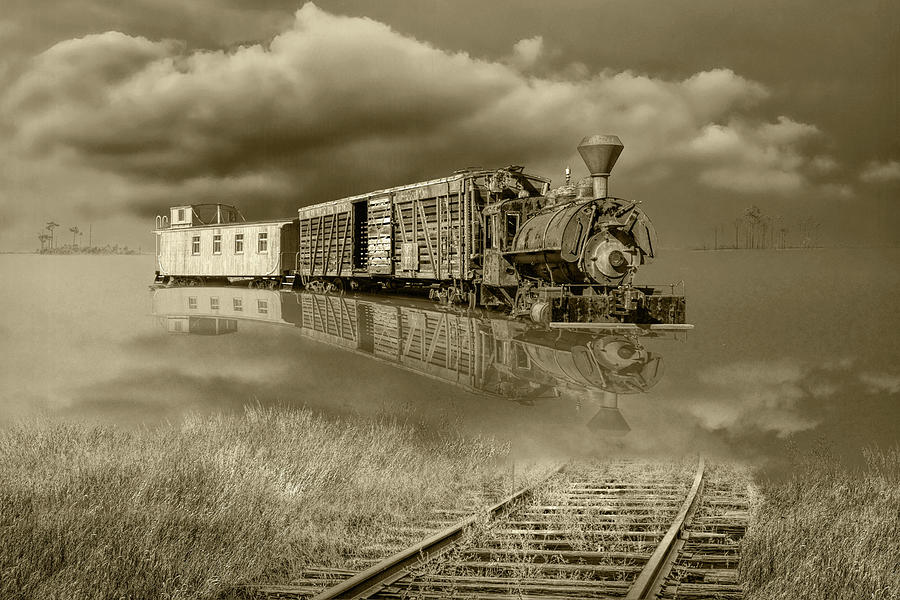 Sepia Tone of On Life's Railway with Old Steam Locamotive Engine by Randall Nyhof