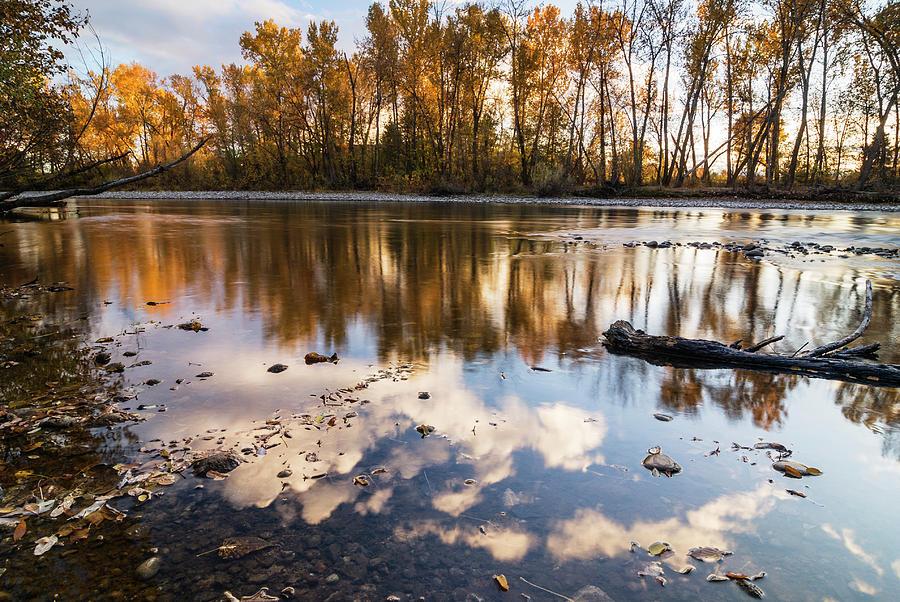 Serene autumn scene along Boise River by Vishwanath Bhat