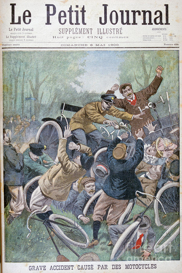 Serious Accident Caused By Bicycles Drawing by Print Collector