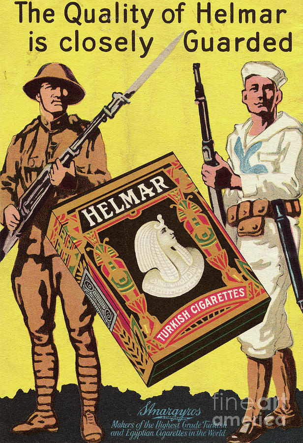 Servicemen Advertising Helmar Cigarettes Photograph by Bettmann