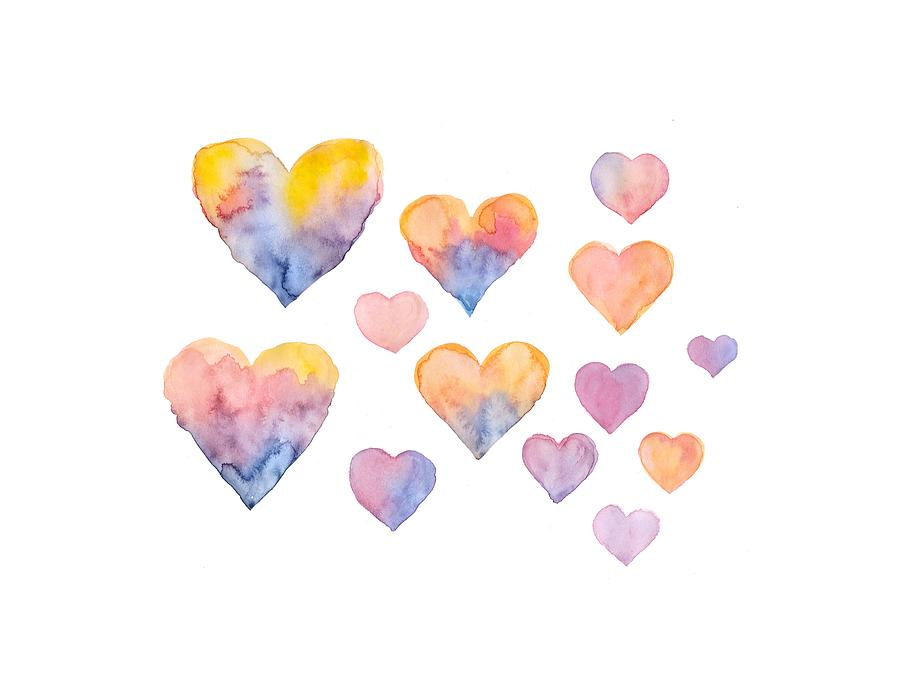 Heart Drawing - Set of colorful hearts by watercolor by Elena Sysoeva