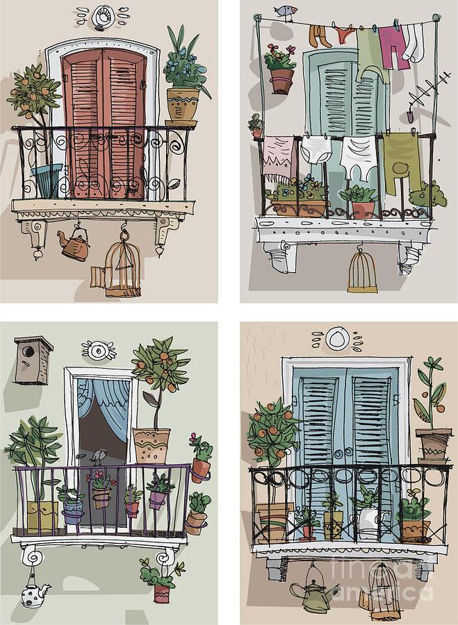 Residency Digital Art - Set Of Cute Balcony - Cartoon by Iralu