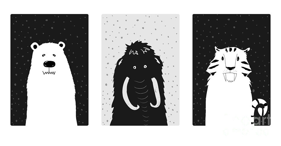 Symbol Digital Art - Set Of Cute Ice Age Animals. Mammoth by Salvadorova