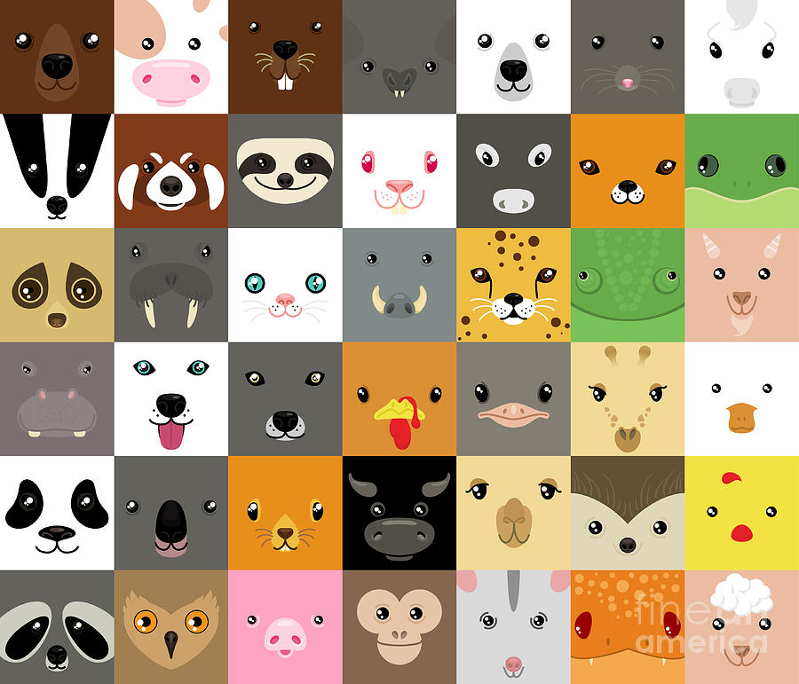 Panda Digital Art - Set Of Cute Simple Animal Faces by Olesia Misty