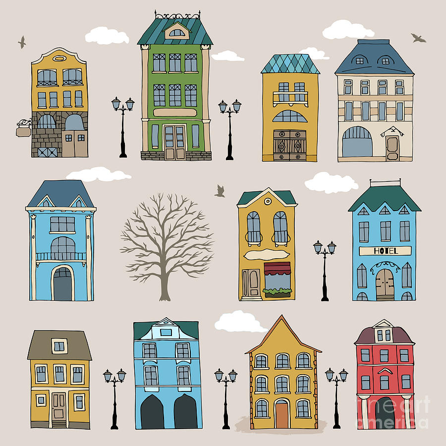 Country Digital Art - Set Of Old European Houses Isolated On by Piranjya