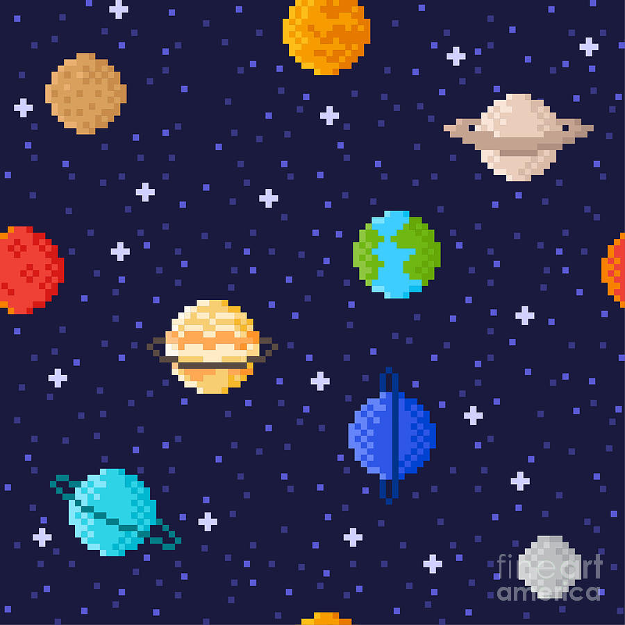 Saturn Digital Art - Set Of Solar System Planets Mercury by Maria Zvonkova