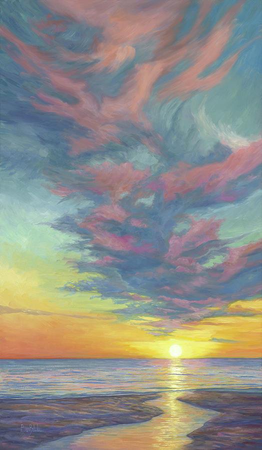 Beach Painting - Setting Sun by Lucie Bilodeau