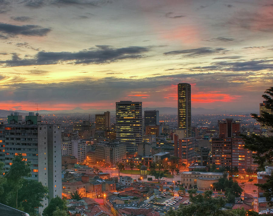 Colombian Culture Photograph - Setting Sun Over Bogotá by Tobntno